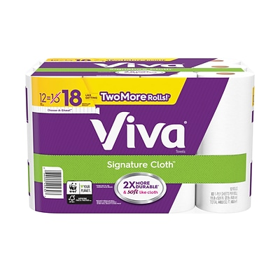 Viva Signature Cloth Choose-A-Sheet Paper Towels, Soft & Strong Kitchen Paper Towels, White, 12 Big Rolls (83 sheets per roll)