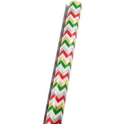 JAM Paper® Christmas Wrapping Paper, 25 Sq Ft, Chevron Stripe, Sold Individually (165532237)
