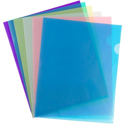 "JAM Paper® Plastic Sleeves, 9"" x 12"", Assorted Colors, 12/Pack (380SASST)"