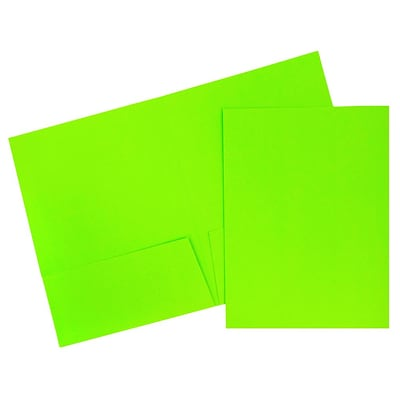 JAM Paper® 2 Pocket Bright Neon Folders, Green, 6/pack (386Ngrd)