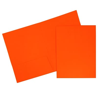 JAM Paper® 2 Pocket Bright Neon Folders, Orange, 6/pack (386Nord)
