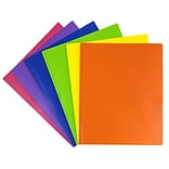 JAM Paper® Plastic 2 Pocket Eco School Folders with Metal Tang Fastener Clasps, Assorted Primary Col