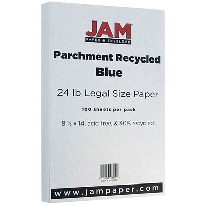 JAM Paper® Legal Parchment 24lb Paper, 8.5 x 14, Blue Recycled, 100 Sheets/Pack (17132138)