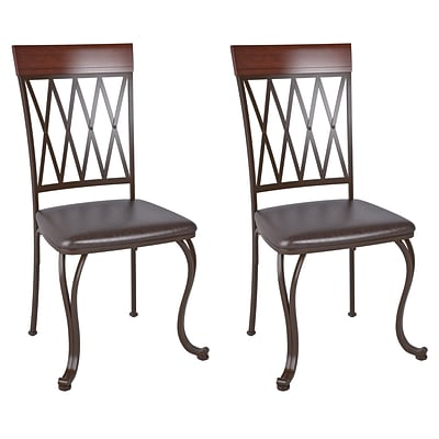 CorLiving Jericho Bonded Leather Dining Chair, Dark Brown - set of 2 (DJS-479-C)