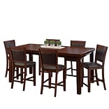 CorLiving 7pc Counter Height Extendable Dining Set - Warm Brown Wood and Chocolate Brown Bonded Leat