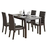 CorLiving Atwood 5pc Dining Set, with Dark Brown Leatherette Seats (DRG-795-Z4)