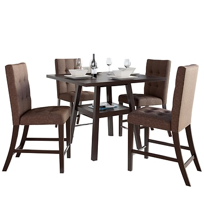 CorLiving Bistro 5pc 36 Counter Height Cappuccino Dining Set - Chestnut Bark Brown (DIP-497-Z7)