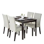 CorLiving Atwood 5pc Dining Set, with Cream Leatherette Seats (DRG-695-Z3)