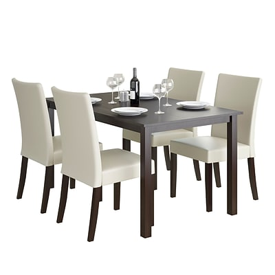 CorLiving Atwood 5pc Dining Set, with Cream Leatherette Seats (DRG-795-Z3)
