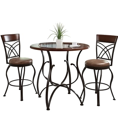 CorLiving Jericho 3pc Counter Height Rustic Brown Barstool and Bistro Table Set (DJS-923-Z3)