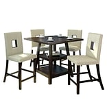 CorLiving Bistro 5pc 36 Counter Height Cappuccino Dining Set  - White Leatherette (DIP-490-Z2)