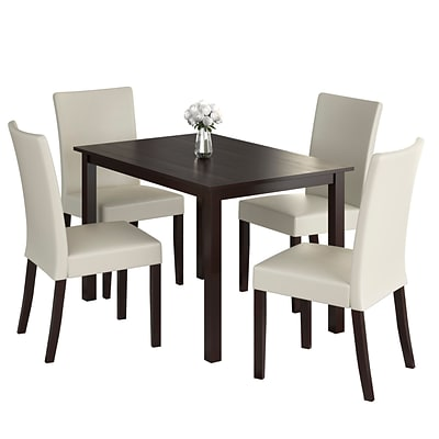 CorLiving Atwood 5pc Dining Set, with Cream Leatherette Seats (DRG-595-Z5)