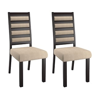 CorLiving Bistro Fabric Ladder Back Dining Chairs, Cream - set of 2 (DWP-312-C)