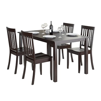 CorLiving Atwood 5pc Dining Set, with Cappuccino Stained Chairs (DRG-795-Z5)