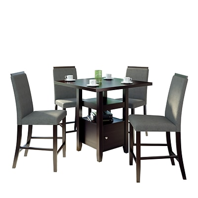 CorLiving Bistro 5pc 36 Counter Height Cappuccino Dining Set - Pewter Grey (DPP-690-Z2)