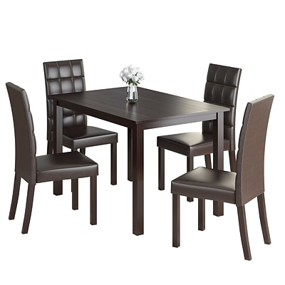 CorLiving Atwood 5pc Dining Set, with Dark Brown Leatherette Seats (DRG-595-Z2)