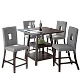 CorLiving Bistro 5pc 36 Counter Height Cappuccino Dining Set - Pewter Grey (DIP-490-Z1)