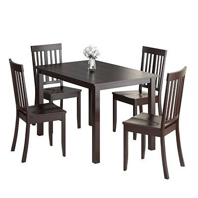 CorLiving Atwood 5pc Dining Set, with Cappuccino Stained Chairs (DRG-595-Z3)
