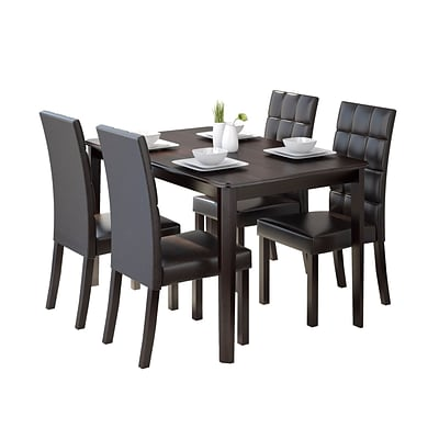 CorLiving Atwood 5pc Dining Set, with Dark Brown Leatherette Seats (DRG-695-Z4)