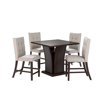 CorLiving Bistro 5pc 36 Counter Height Cappuccino Dining Set - Tufted Platinum Sage (DWP-390-Z1)