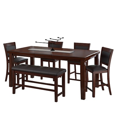 CorLiving 6pc Counter Height Extendable Dining Set - Warm Brown Wood and Chocolate Brown Bonded Leather (DWG-880-Z1)