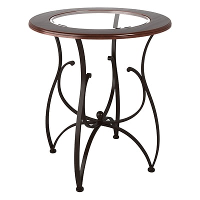 CorLiving Jericho 42 Bar Height Warm Stained Wood and Glass Dining Table (DJS-925-T)