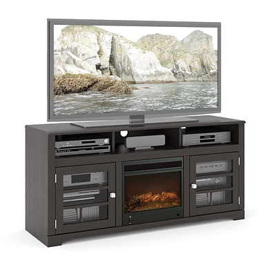 Sonax West Lake Wood Veneer Fireplace TV Bench for up to 68 TVs, Mocha Black (TWB-206-F)