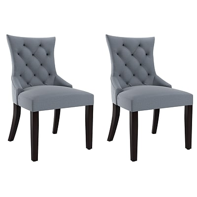 CorLiving Antonio Fabric Accent Chair, Blue Grey - set of 2 (LAD-471-C)