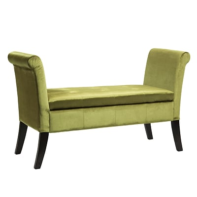 CorLiving Antonio Velvet Storage Bench with Scrolled Arms, Green (LAD-541-O)