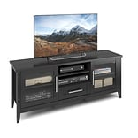 CorLiving Jackson TV Bench for up to 65 TVs, Black Wood Grain Finish (TJK-603-B)