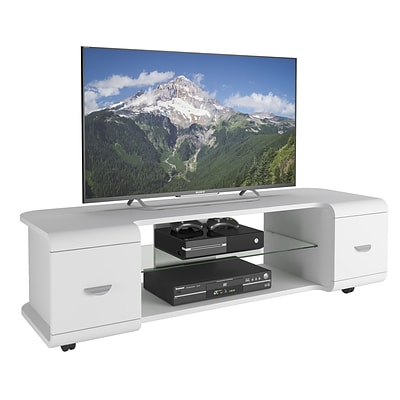 CorLiving Panorama TV Stand for up to 65 TVs, White Finish (TMM-113-B)