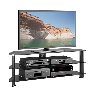 CorLiving Laguna TV Stand for up to 60 TVs, Satin Black (TRL-501-T)