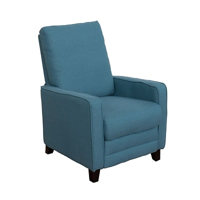 CorLiving Kelsey Linen Fabric Recliner, Blue (LZY-424-R)