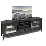 CorLiving Jackson Extra Wide TV Bench for up to 80 TVs, Black Wood Grain Finish (TJK-604-B)