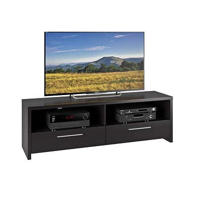 CorLiving Fernbrook TV Stand for up to 70 TVs, Black Faux Wood Grain Finish (TFB-308-B)