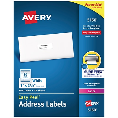 Avery Easy Peel Laser Address Labels, 1 x 2 5/8, White, 30 Labels/Sheet, 100 Sheets/Box (5160)