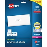 Avery Easy Peel Laser Address Labels, 1 x 2 5/8, White, 30/Sheet, 25 Sheets/Pack (5260)