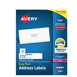 Avery Easy Peel Laser Address Labels, 1 x 4, White, 20/Sheet, 100 Sheets/Pack (5161)