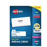 Avery Easy Peel Laser Address Labels, 1 1/3 x 4, White, 14/Sheet, 100 Sheets/Pack (5162)