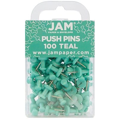 JAM Paper® Push Pins, Teal Pushpins, 100/pack (22432067)