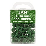 JAM Paper® Push Pins, Green Pushpins, 100/pack (2242954)