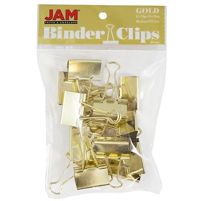 JAM Paper® Binder Clips, Medium, 32mm, Gold Binderclips, 15/pack (339BCgo)