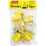 JAM Paper® Binder Clips, Large, 41mm, Yellow Binderclips, 12/pack (340BCye)