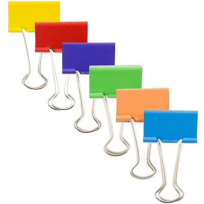 JAM Paper® Binder Clips, Medium, 32mm, Assorted Binderclips, 6 packs of 25 per color, 90/set (339BCrgbyop)