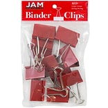 JAM Paper® Binder Clips, Large, 41mm, Red Binderclips, 12/pack (340BCre)