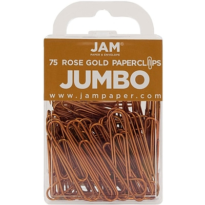 JAM Paper® Colored Jumbo Paper Clips, Large, Rose Gold Paperclips, 75/pack (21832059)