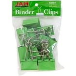 JAM Paper® Binder Clips, Large, 41mm, Green Binderclips, 12/pack (340BCgr)