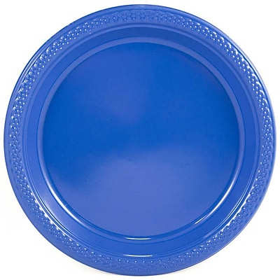 JAM Paper® Round Plastic Disposable Party Plates, Medium, 9 Inch, Blue, 200/Box (9255320675b)
