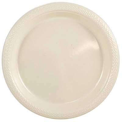 JAM Paper® Round Plastic Plates, Small, 7 inch, Ivory, 200/box (7255320682b)