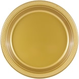 JAM Paper® Round Plastic Plates, Small, 7 inch, Gold, 200/box (255325367b)